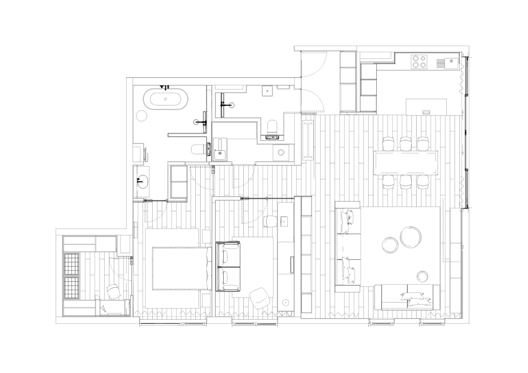 Rzut mieszkania, widoczne pomieszczenia apartamentu